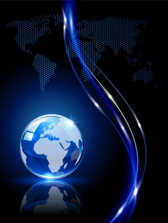 Blue shiny globe on dark background, illustration. Vector