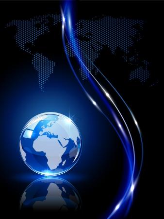földgolyó: Kék, fényes földgömb sötét háttér, illusztráció.