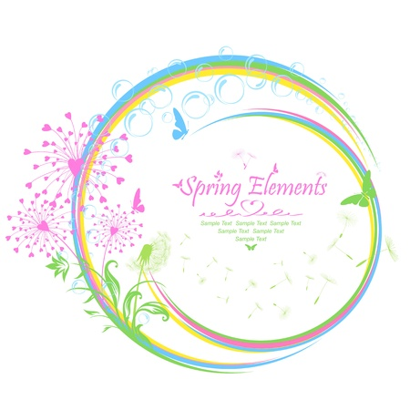 Background with floral elements and flowers, Illustration. Vector