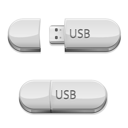 mobile accessories: USB flash memory set, isolated on the white background, Illustration. Illustration
