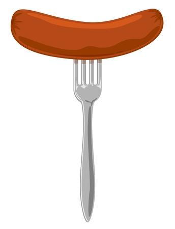 hotdog: Sausage on the fork, Illustration.