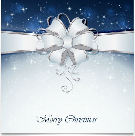 Background with bow, snowflake, stars and blurry light, illustration. Stock Vector - 19292198
