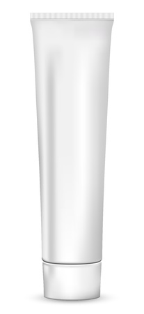 paste: Realistic white tube for cosmetics, ointments, cream and tooth paste, isolated on white background, illustration.