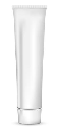 kunststoff rohr: Realistische weiße Röhre für Kosmetika, Salben, Creme und Zahnpasta, auf weißem Hintergrund, isoliert.