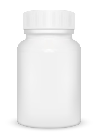 Blank medicine bottle isolated on white background, illustration. Illustration