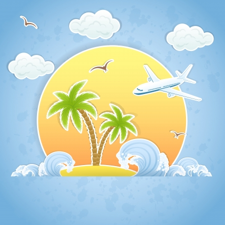 cartoon palm tree: The flying airplane and Tropical Island with palms and waves, illustration. Illustration