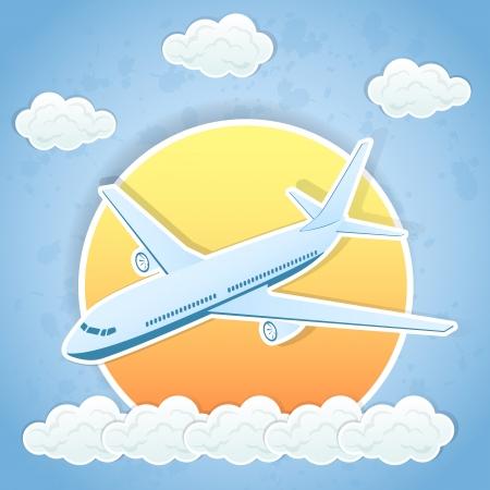 avion caricatura: El vuelo del aeroplano y las nubes en el cielo de fondo, ilustraci�n.