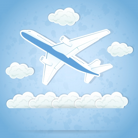 The flying airplane and clouds on sky background, illustration. Vector