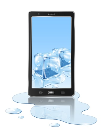 Realistic mobile phone with ice cube and water, isolated on white background, illustration. Stock Vector - 19584975