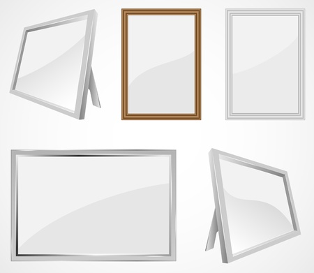 Set of realistic photo frames, illustration. Vector
