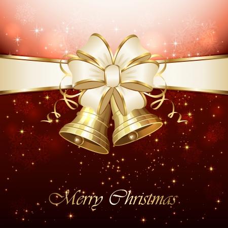 campanas: Fondo con las campanas de Navidad, arco, copo de nieve y las estrellas, ilustración.
