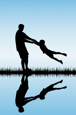 happy family outdoor: Silhouettes of a happy family of the father and the child, illustration. Illustration