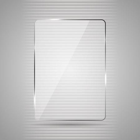 Gloeiende glazen paneel op een grijze achtergrond, illustratie. Vector Illustratie