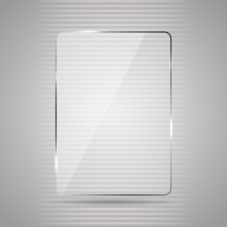 glass panel: Glowing glass panel on a gray background, illustration.