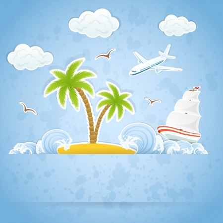 Tropical Island with palms and waves, flying airplane and ship, illustration. Vector