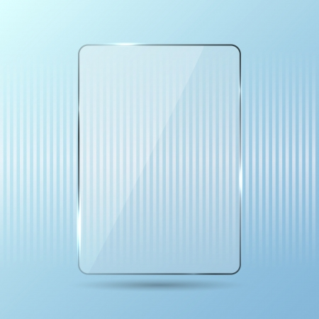 Glowing glass panel on a blue background, illustration.