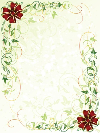 christmas border: Decorative grunge background with floral elements and bows, illustration