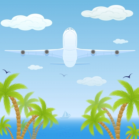 White plane fly over sea and palms, illustration. Vector
