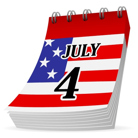 Independence day, 4 July calendar icon on a white background, illustration  Vector