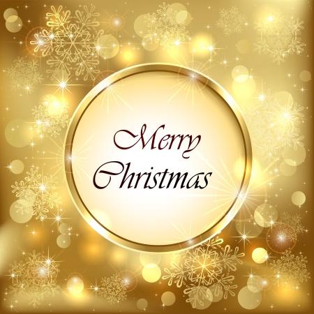 estrellas de navidad: Fondo de oro de la Navidad con el espacio, los copos de nieve y luces borrosas, ilustración