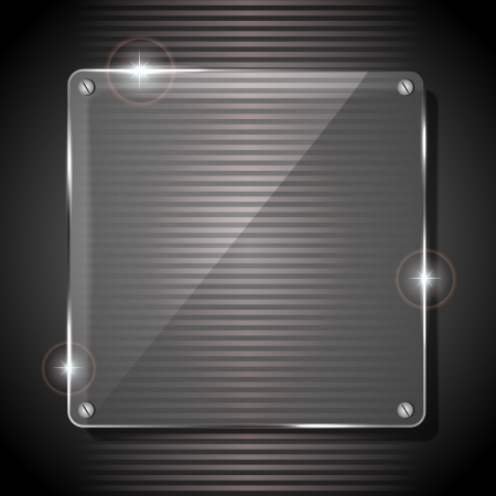 glass panel: Glowing glass panel on a dark gray background, illustration