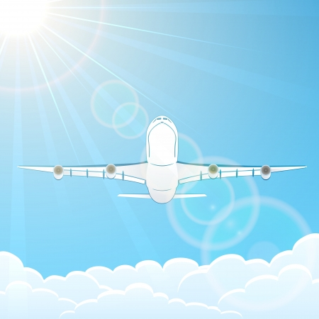 White airplane fly on blue sky background, illustration  Vector