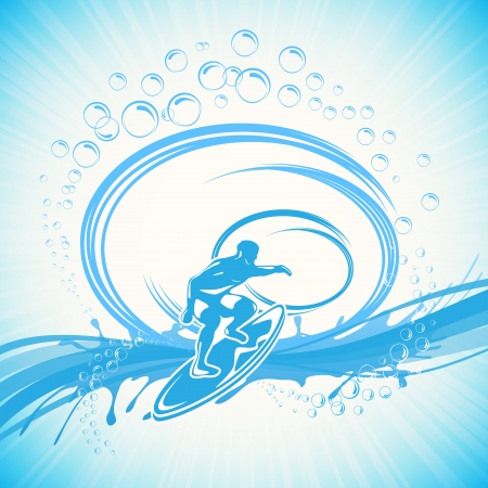 Surfer on a waves on blue background, illustration  Vector