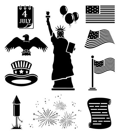aguila americana: Conjunto de iconos de Día de la Independencia negro, la ilustración.