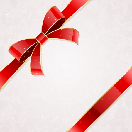 corner ribbon: Holiday bow and ribbon on a packaging paper background, illustration.