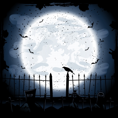 crow: Scary Halloween night background, crow in the cemetery, illustration