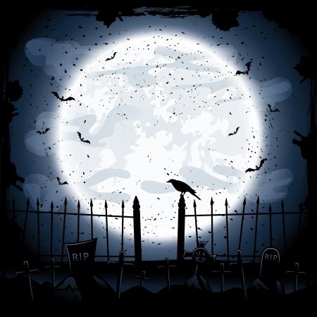 corvini: Spaventoso sfondo notte di Halloween, corvo nel cimitero, illustrazione