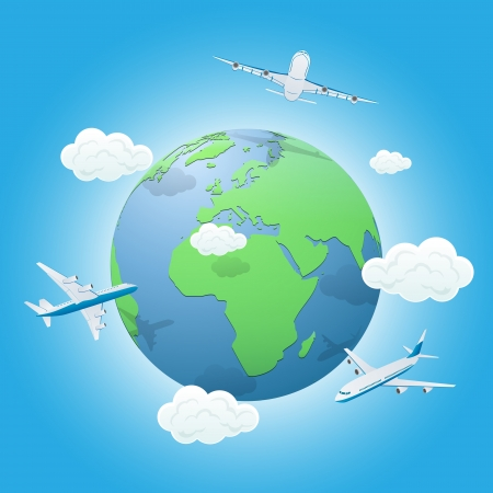Three airplanes flying around the World, illustration  Vector