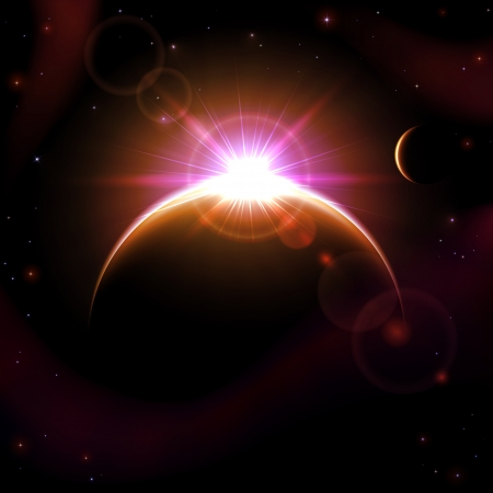 Space background with planets and shining sun, illustration  Vector