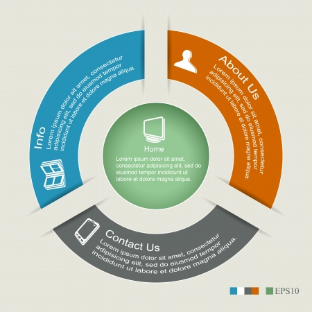 circle diagram: Modern business options banner, circle infographics, can be used for diagram, circle cutout lines, number options  Illustration