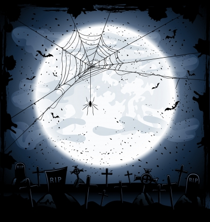 Halloween night background, full Moon in the dark sky, cemetery and spider, illustration