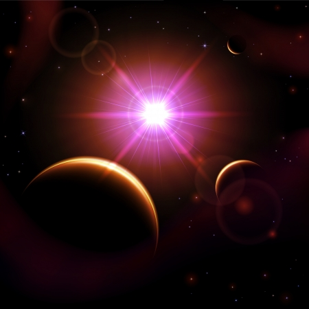 Space background with sun and planet, illustration  Vector