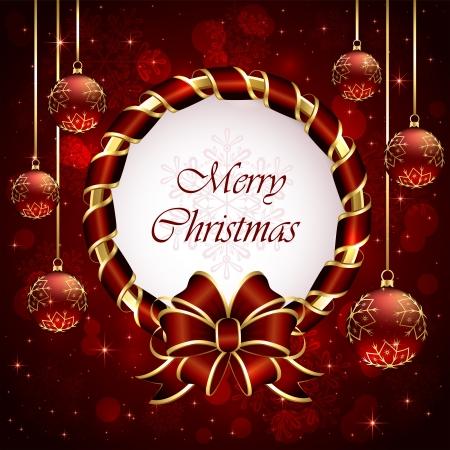 Red Christmas Hintergrund mit Schleife, Schneeflocken und Kugeln, Abbildung Vektorgrafik