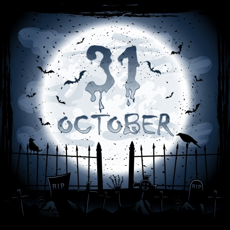 Scary Halloween night scene, crows in the cemetery, illustration  Vector