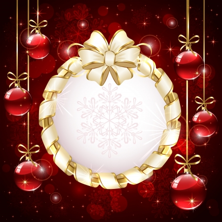 Red Christmas background with beige bow and red baubles, snowflakes and baubles, illustration  Stock Vector - 20663724