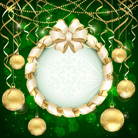 christmas ball: Green Christmas background with beige bow and golden baubles, illustration