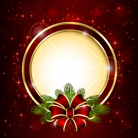 Red Christmas background with bow and stars, illustration