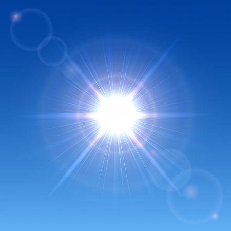 Sun shining in a clear blue sky, illustration Stock Vector - 20886129