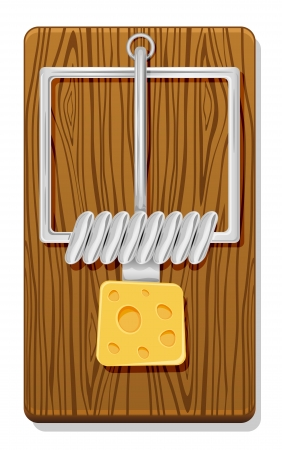 cheese cartoon: Mousetrap with cheese isolated on white background, illustration