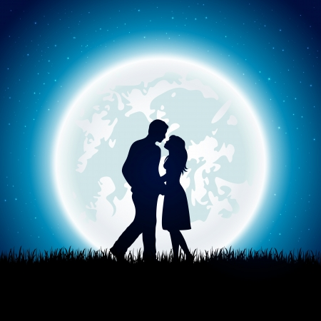 Enamored couple with Moon on the night sky background, illustration   Vector