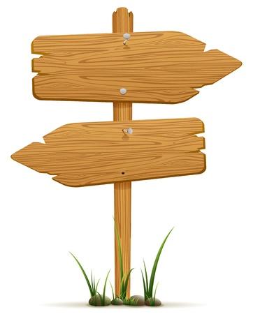 Des panneaux en bois dans une herbe, isolé sur fond blanc, illustration