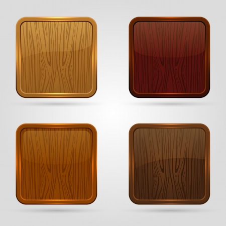 Set of glossy wooden buttons, illustration  Vector