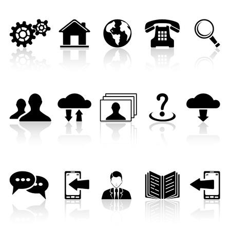 Set de iconos web negro sobre fondo blanco, ilustración