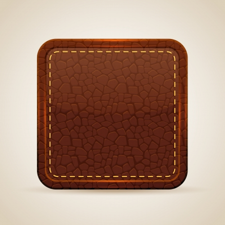Square button with a leather texture, illustration