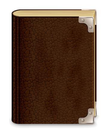 Oude leer boek, geïsoleerd op een witte achtergrond, afbeelding