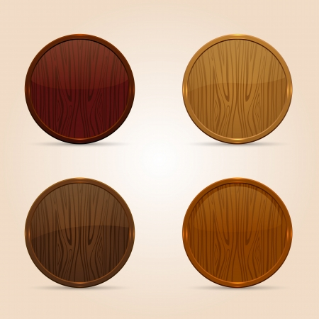 Set of four circle wooden buttons, illustration  Vector